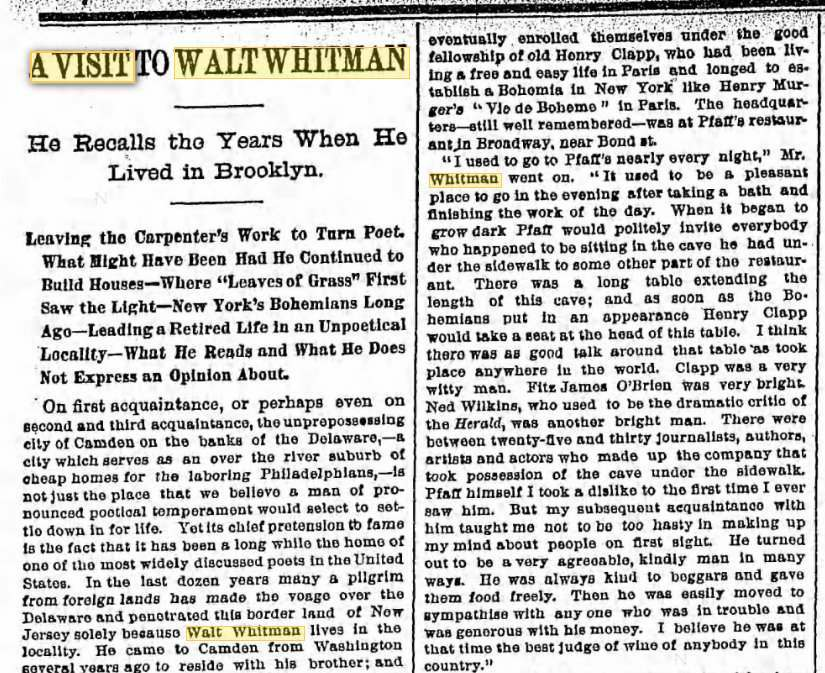 """A Visit to Walt Whitman."" Brooklyn Eagle . 11 Jul. 1886"