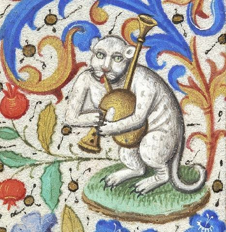 Cat playing a bagpipe in a Book of Hours, Paris, c. 1460