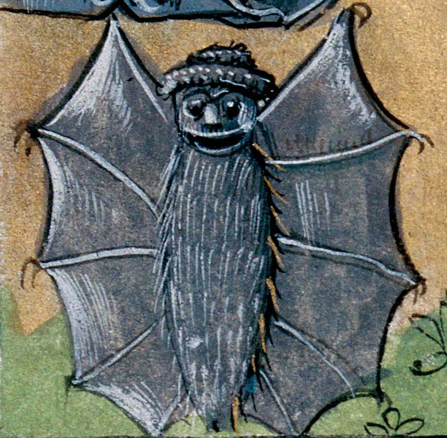 bat in a hat book of hours, Picardy 15th century Abbeville, Bibliothèque municipale, ms. 16, fol. 31v