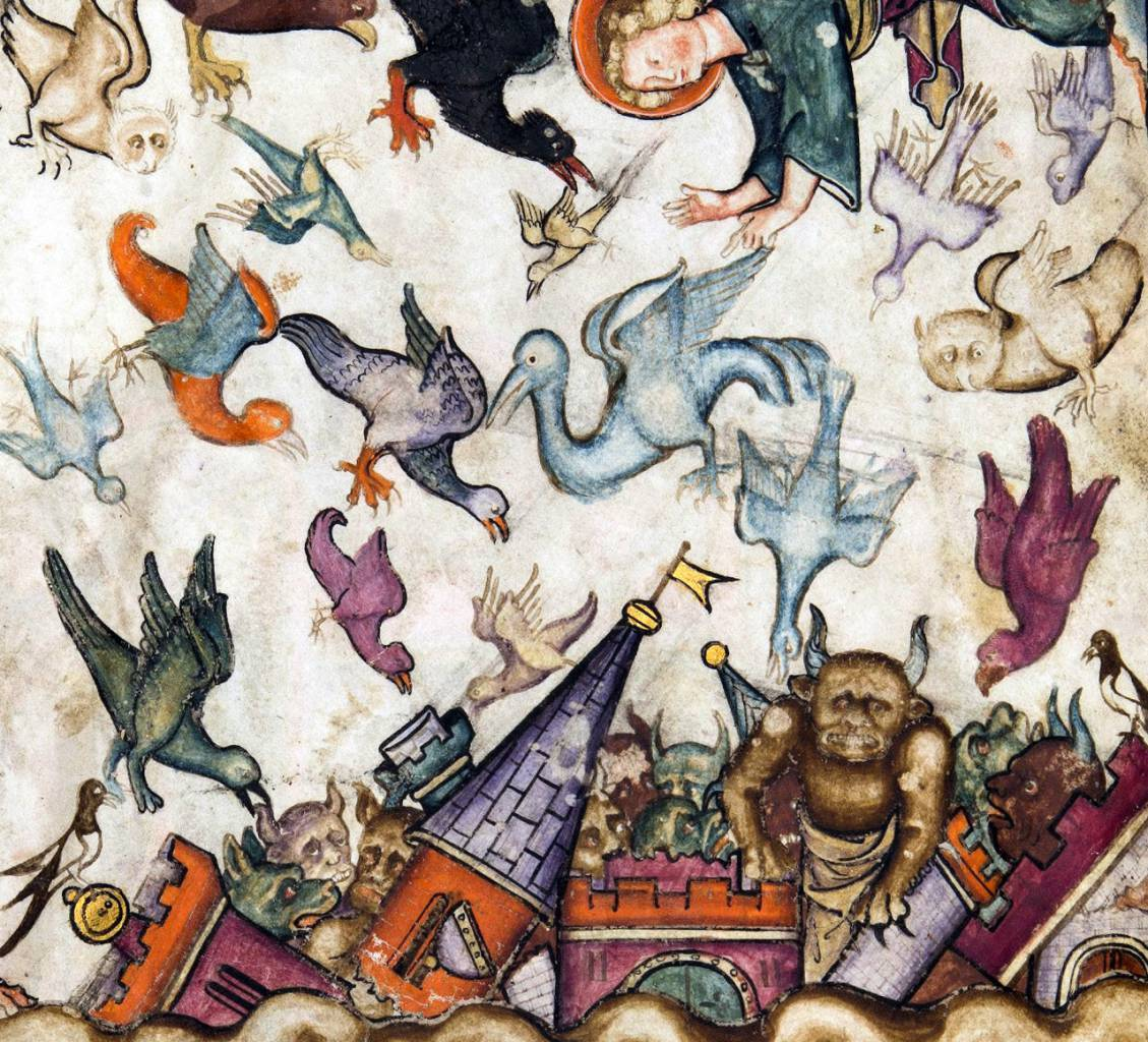 Revelation 18:1-2 'And after these things I saw another angel come down from heaven, having great power; and the earth was lightened with his glory. And he cried mightily with a strong voice, saying, Babylon the great is fallen, is fallen, and is become the habitation of devils, and the hold of every foul spirit, and a cage of every unclean and hateful bird.' Apocalypse, Normandy ca. 1330