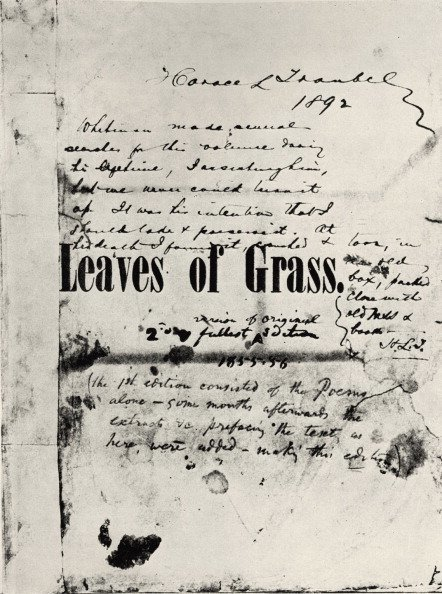 Leaves of Grass - Leaves of Grass - Walt Whitman's copy of the first edition of his book 'Leaves of Grass', with handwritten notes by Horace L. Traubel (later to become one of Whitman's literary executors).  WW: American poet, essayist, journalist, and humanist: 31 May 1819 – 26 March 1892.  (Photo by Culture Club/Getty Images)