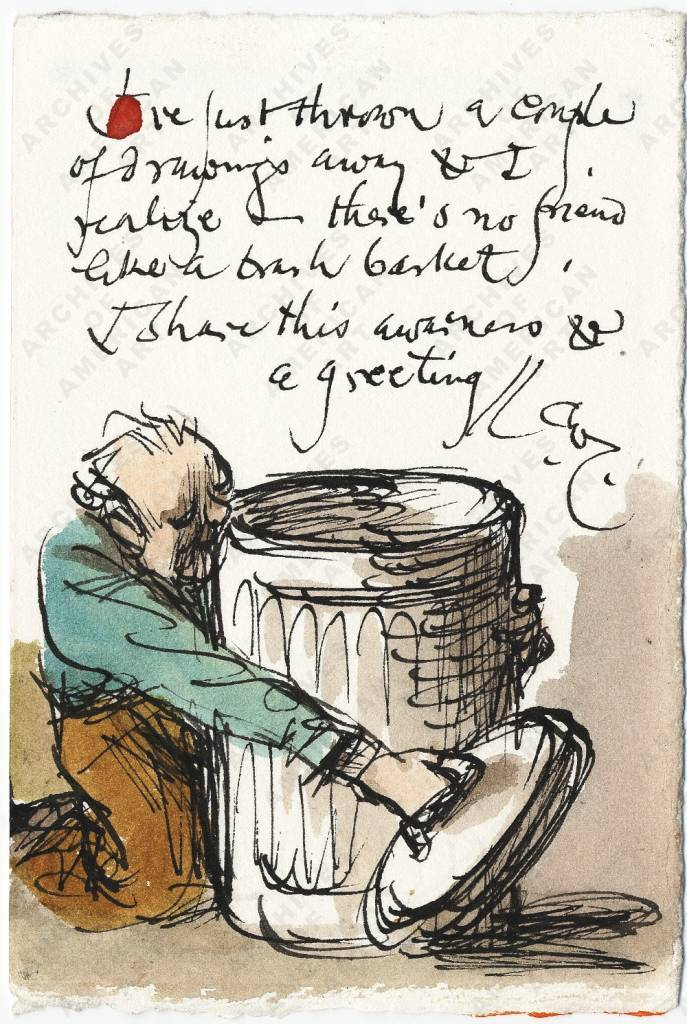 "Warren Chappell (1904-1991) wrote to his friend Isabel Bishop (1902-1988),  ""I've just thrown a couple of drawings away and I realize—there's no friend like a trash basket."""