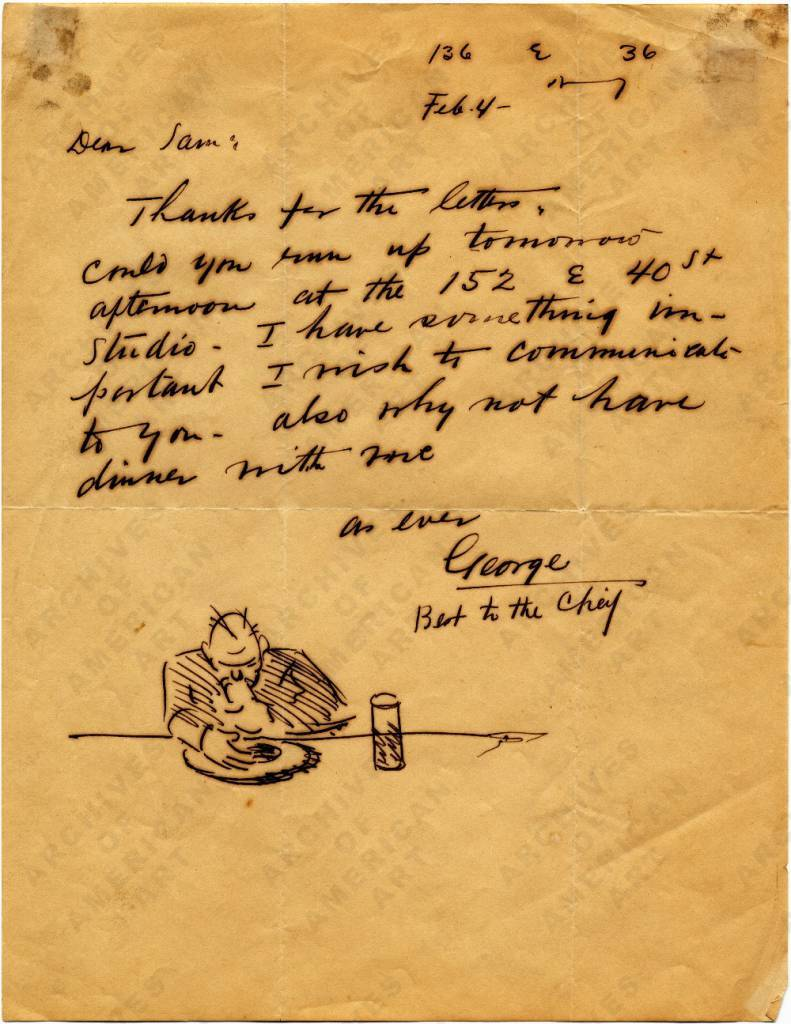 Letter from painter George Luks (1867–1933) to his friend lawyer and art dealer Samuel Ballin (1902–1985), February 4, 193-?.