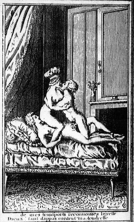 "Marie in an orgy. """"Witness the ecstasy of my throes. Gods, so many bosoms excite my tender affection."""