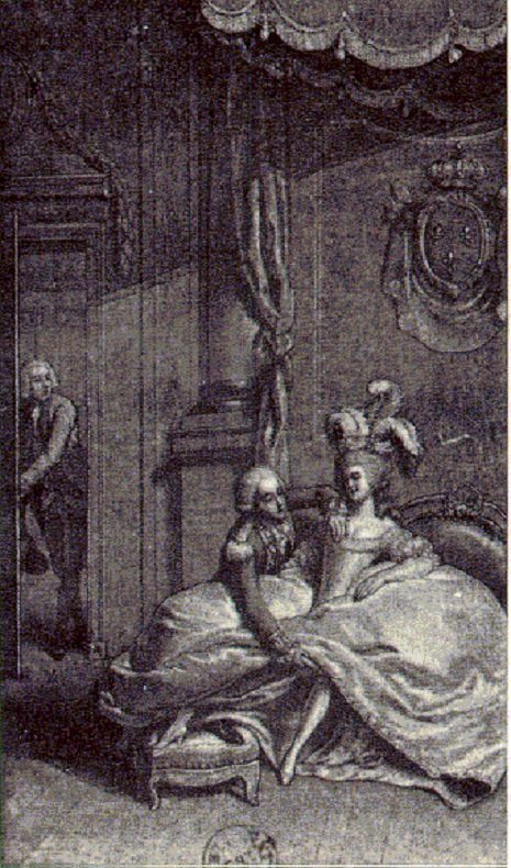 Marie Antoinette with the king's younger brother, the Count d'Artois, as the king looks on.