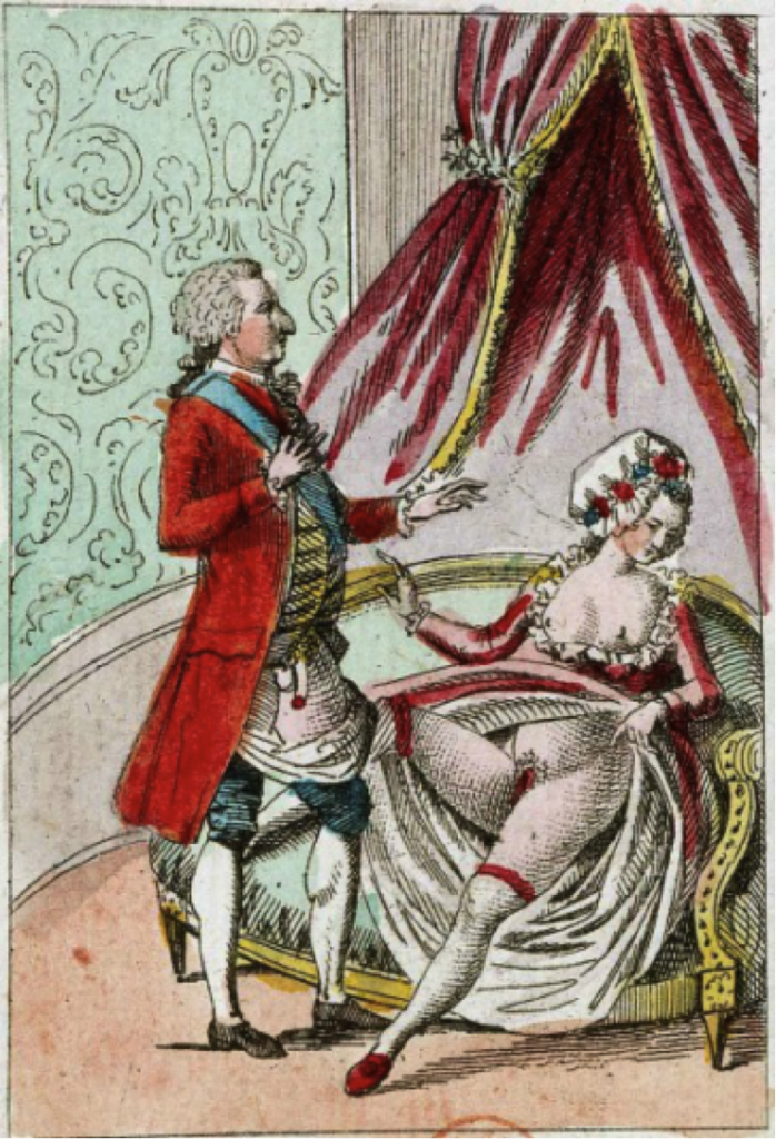 A despondent Marie Antionette waves away a flaccid Louis XVI.