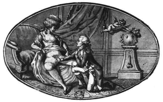 "Above is a cartoon from 1789 showing General Lafayette on bended knee fondling the exposed ""res publica"" of Marie Antoinette. Via"