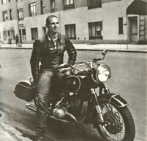 """In Greenwich Village, 1961, on [his] new BMW R60.""(On The Move: A Life/Knopf)"