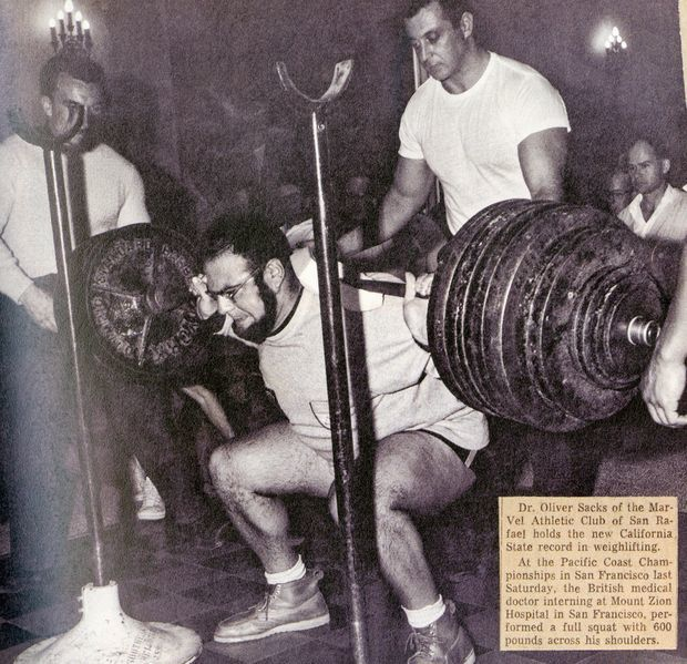 """""""A full squat with 600 pounds, a California state record [Dr. Sacks] set in 1961.""""    (On The Move: A Life/Knopf)"""