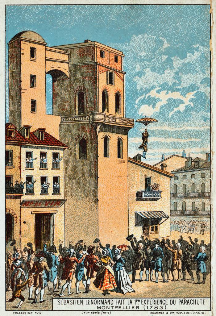 Illustration of the first parachute jump by Louis-Sébastien Lenormand from the tower of the Montpellier observatory in 1783.