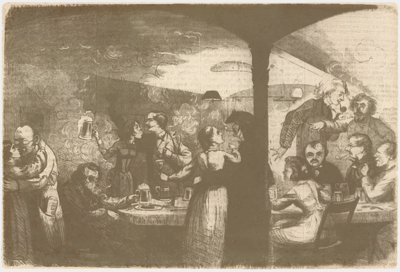 "This image by Frank Bellew is from the February 6, 1864 issue of The New York Illustrated News. It claims to depict the writers and artists at Pfaff's ""As they were said to be by a knight of The Round Table,""  a reference to recent criticisms of the New York bohemians in The Round Table by Franklin Ottarson"