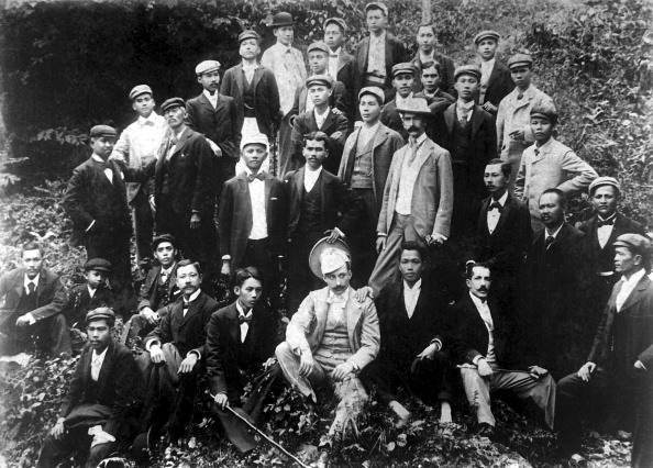 View of Philippine insurgent leaders including Emilio Aguinaldo (1869 - 1964) seated third from right in first row, during the Philippine-American War, late nineteenth century. US Army photo. (Photo by Interim Archives/Getty Images)