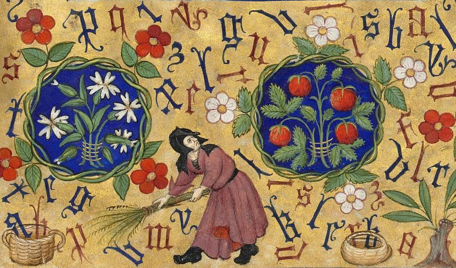 sweeping the letters book of hours (Hours of Marguerite d'Orléans), Rennes ca. 1430.