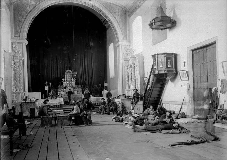 Interior of church occupied by American troops. Rizal Province, 1899 Via