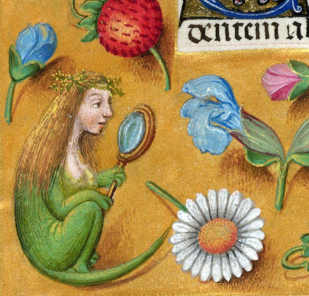 lizard girl 'Breviary of Queen Isabella of Castile', Bruges ca. 1497