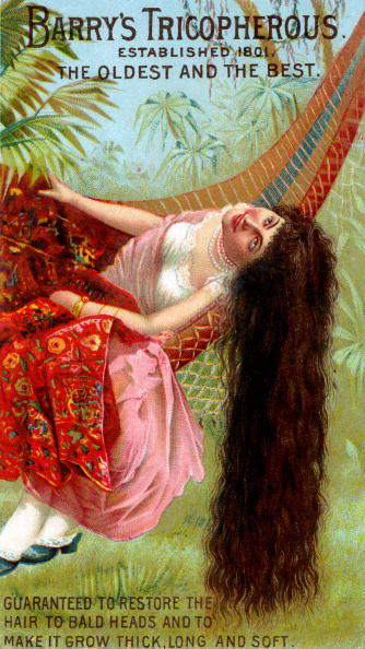 A Victorian trade card for Barry's Tricopherous, 'the Oldest & Best,' a hair restorative that features an illustration of a woman in a hammock, who sits so that her hair nearly touches the ground. The text at the bottom reads 'Guaranteed to restore the hair to bald heads and to make it grow thick, long, and soft. (Photo by Buyenlarge/Getty Images)