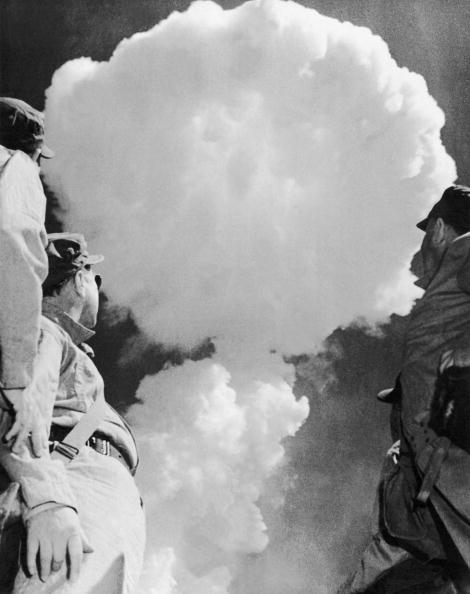 On May 15, 1952, General H.P. Storke And Navy Soldiers Leaving Their Anti-Atomic Terrier, Observed The Deflagrations Produced By The Explosion Of An Atomic Bomb In Desert Rock, Nevada.