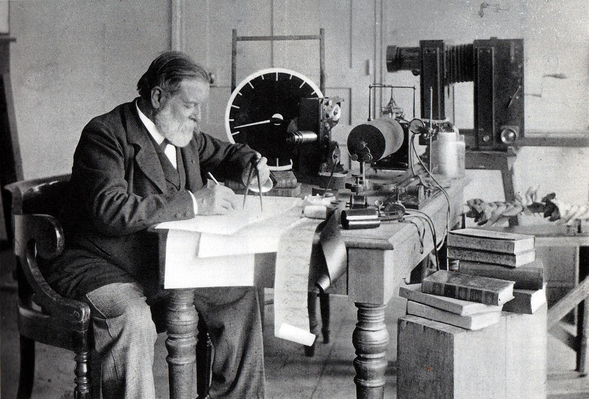 Marey Among His inventions (sphygmograph, sound-recording instruments, model of bird-flight, projector, camera)