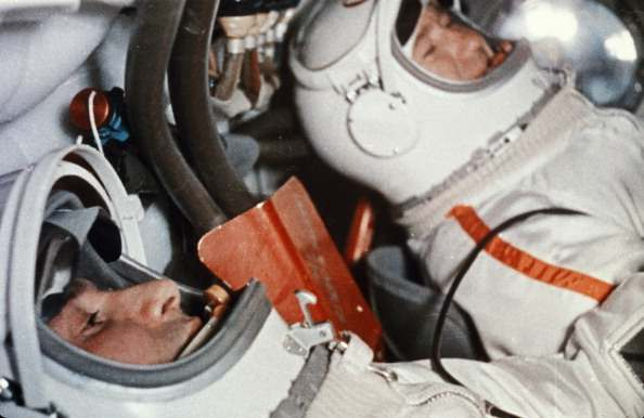 Soviet cosmonauts alexey leonov (right) and pavel belyayev in the cabin of the voskhod 2 spacecraft prior to take-off, 1965. (Photo by: Sovfoto/UIG via Getty Images)