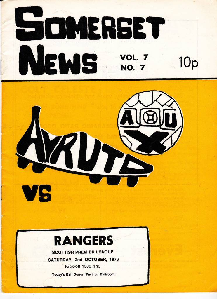 Ayr United vs Rangers - 1976 - Cover Page  We're off to Somerset Park as Ayr United take on Rangers in 1976
