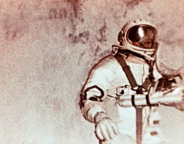Soviet cosmonaut alexei leonov doing the world's first space walk (e,v,a,) during the voskhod 2 mission in 1965. (Photo by: Sovfoto/UIG via Getty Images)