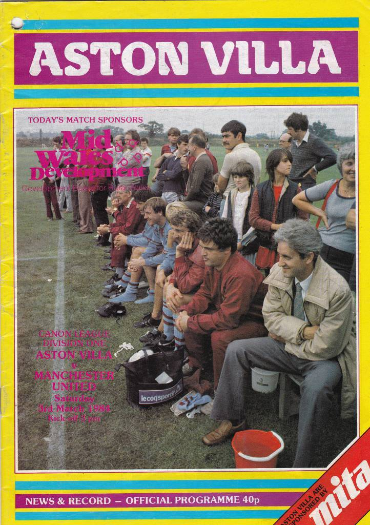 Aston Villa vs Manchester United - 1984 - Cover Page  We're off to Villa Park as Aston Villa take on Manchester United in 1984