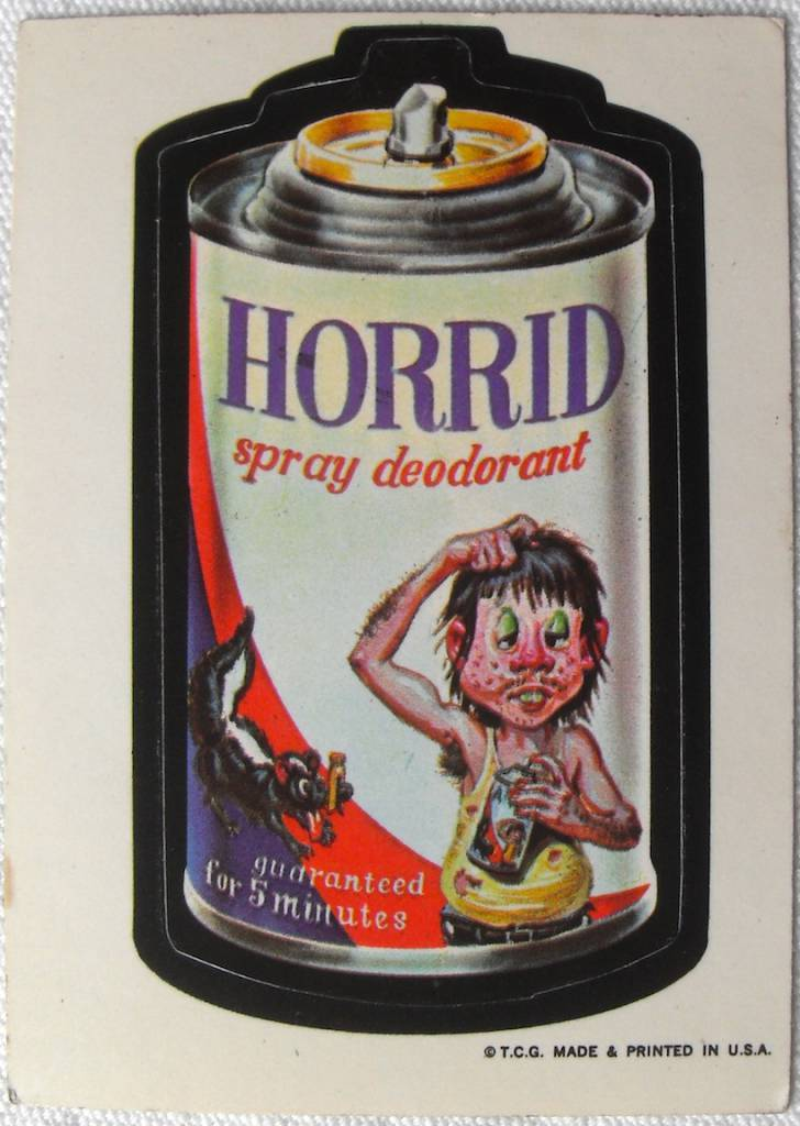 1973 Wacky Packages Stickers 1st Series HORRID DEODORANT