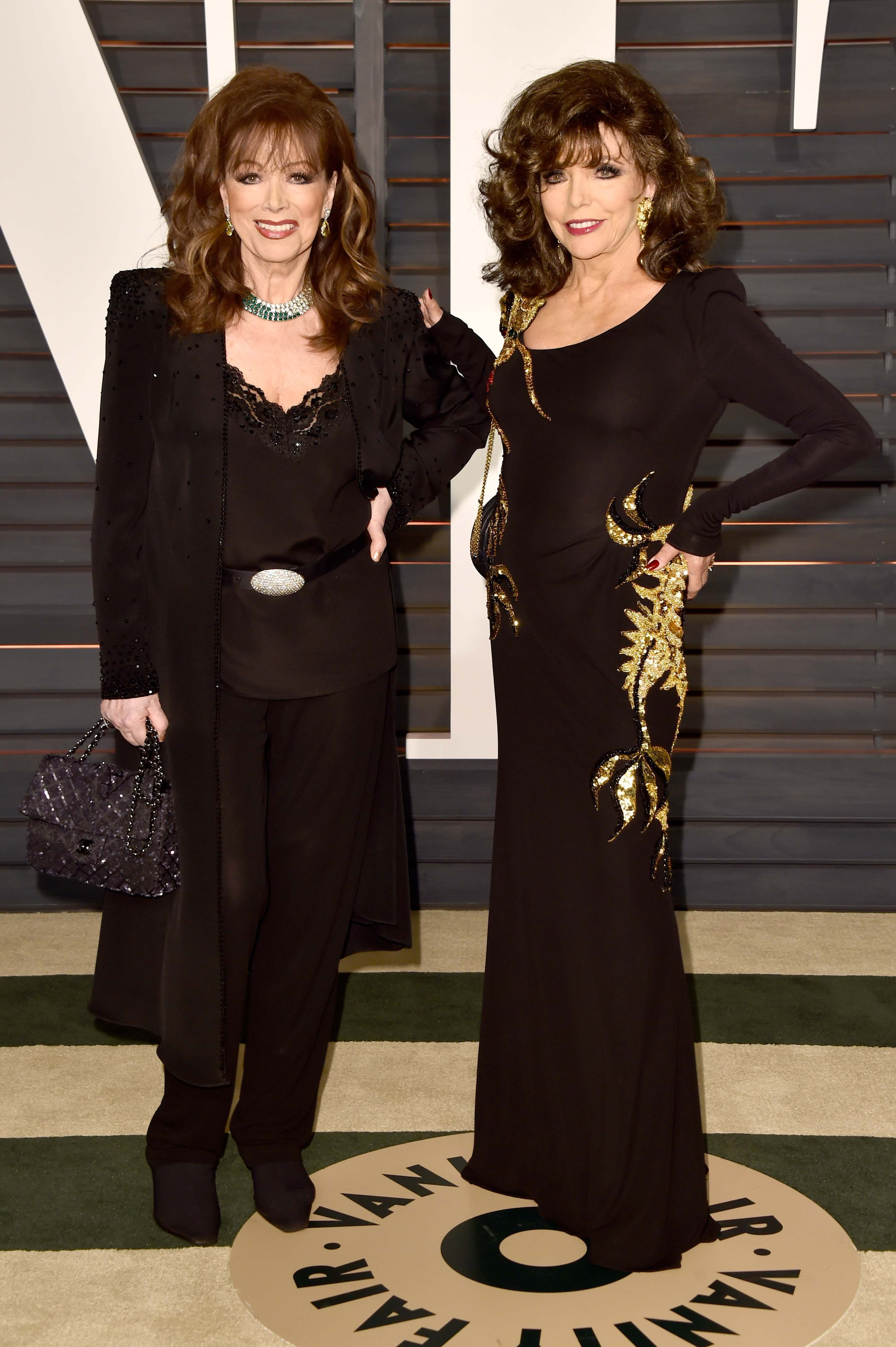 BEVERLY HILLS, CA - FEBRUARY 22:  Producer Jackie Collins (L) and actress Joan Collins attend the 2015 Vanity Fair Oscar Party hosted by Graydon Carter at Wallis Annenberg Center for the Performing Arts on February 22, 2015 in Beverly Hills, California.  (Photo by Pascal Le Segretain/Getty Images)