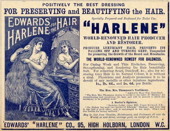 Edwards Harlene hair dressing, 1890s. (Photo by History of Advertising Trust/Heritage Images/Getty Images)