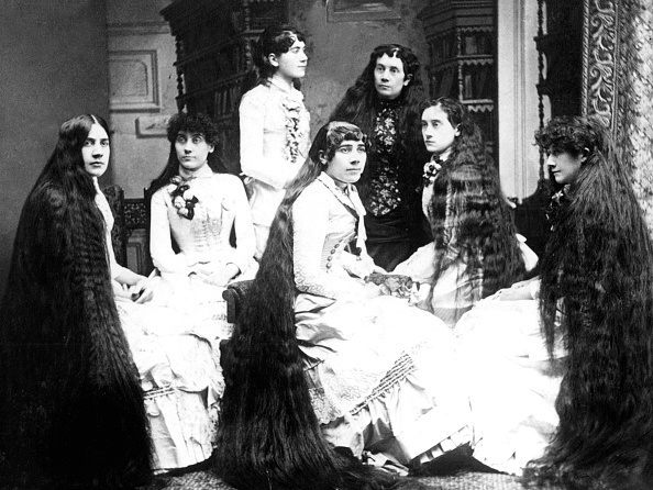 Women with long hair, 1880s. (Photo by Mark Jay Goebel/Getty Images)