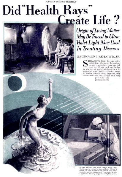 """UNSPECIFIED - SEPTEMBER 07:  Article by George Lee Dowd JR about ultraviolet rays benefit for health published in american magazine """"Popular science monthly"""" in january 1931  (Photo by Apic/Getty Images)"""