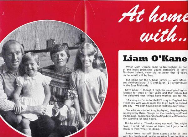 Liam O'Kane Date: 1983 Source: Nottingham Forest Programme