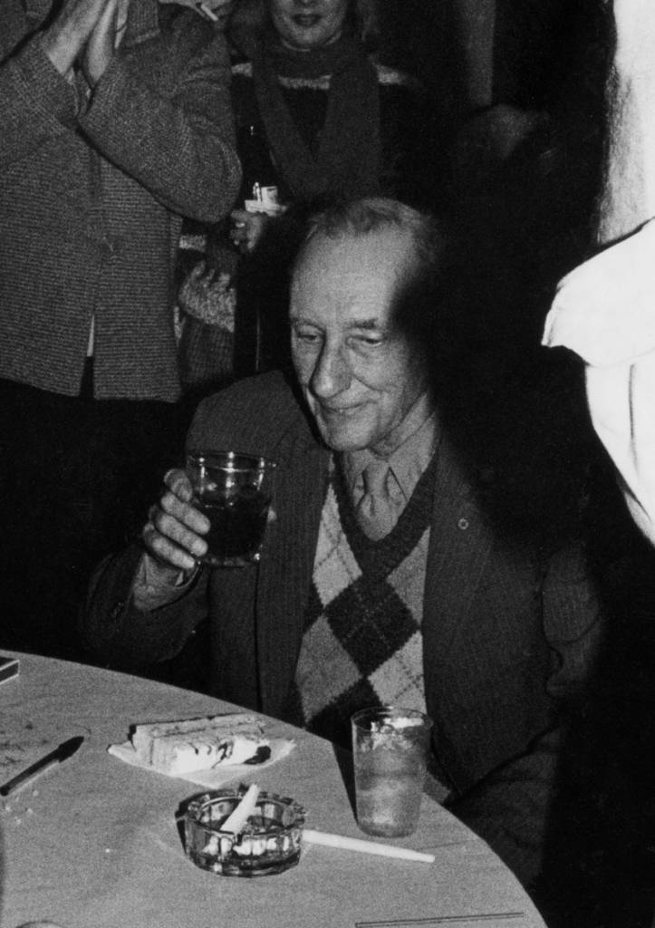 William S. Burroughs at his 70th birthday party in 1984.