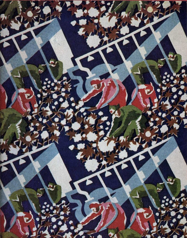 Cotton picking. Decorative sateen, the 30s.
