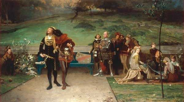 An 1872 painting by English artist Marcus Stone shows Edward II cavorting with Gaveston while nobles and courtiers look on with concern.