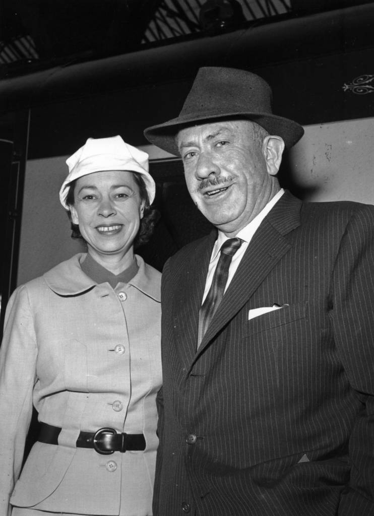 1st June 1957:  John Steinbeck (1902 - 1968), the American novelist who won the Nobel Prize for Literature in 1962, with his wife.  (Photo by Evening Standard/Getty Images)