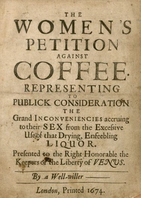 Title page for Women's Petition Against Coffee, an anonymous pamphlet published in London in 1674