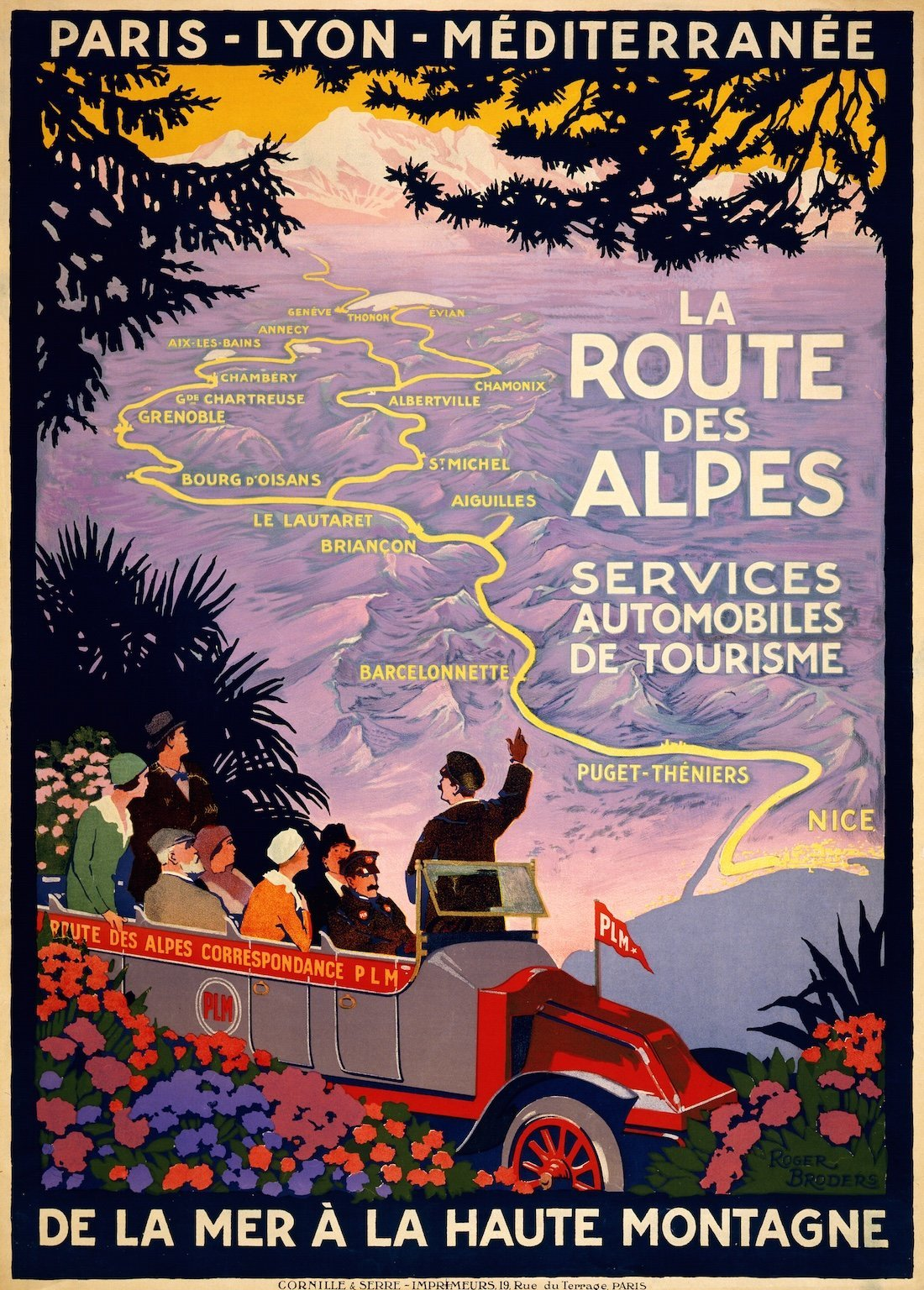 La Route des Alpes, travel poster for PLM, c.1920