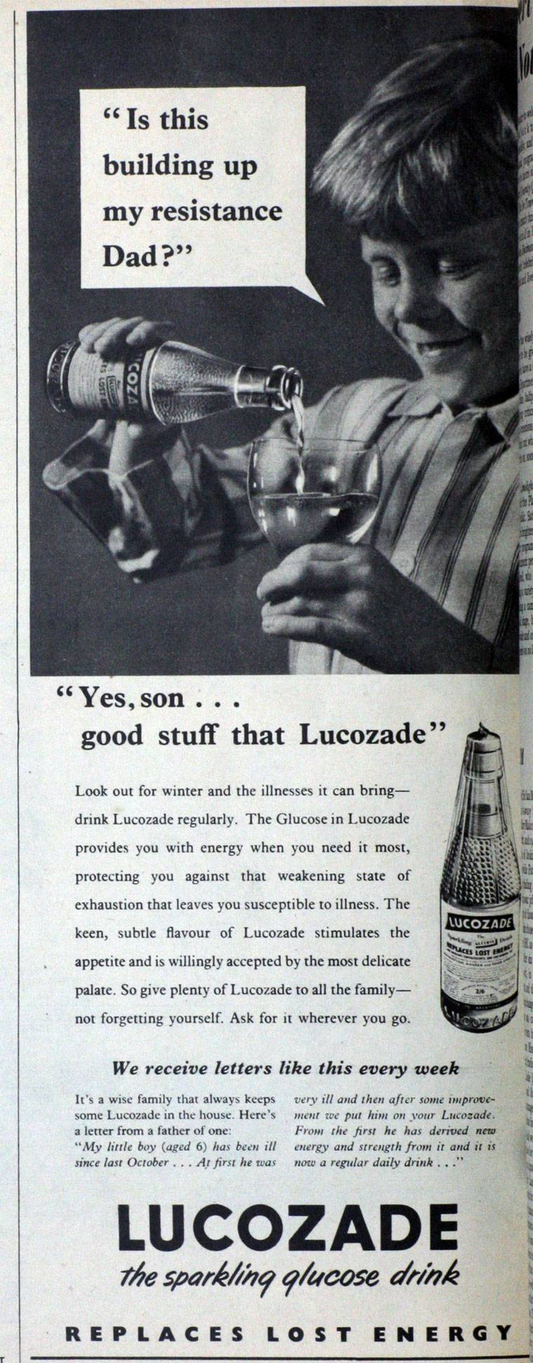 Lucozade ad October 1954 yes son