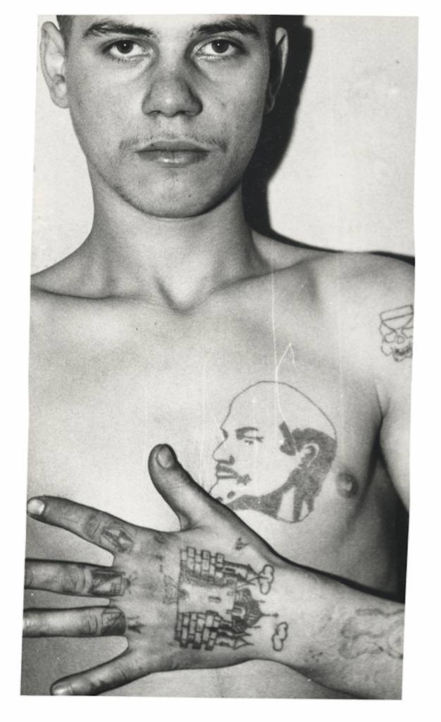 Lenin is held by many criminals to be the chief pakhan (boss) of the Communist Party. The letters BOP, which are sometimes tattooed under his image, carry a double meaning. The acronym stands for 'Leader of the October Revolution' but also spells the Russian word VOR (thief). Often tattoos with portraits of Lenin and Stalin are intended to show patriotic feelings. However, some prisoners had portraits of Lenin and Stalin tattooed on their chest for 'protection', as it was commonly believed that the guards were forbidden to shoot at an image of their great leaders. © Arkady Bronnikov / FUEL