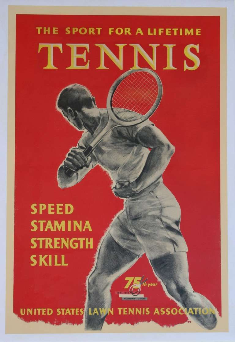 US Lawn Tennis Poster, 1956.