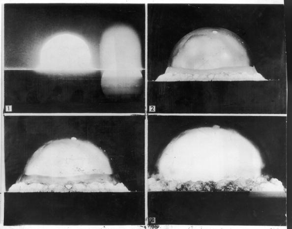 JULY 16:  First 4 pics in a sequence of 8 recorded by U.S. Army automatic motion picture camera six miles distant when an atomic bomb was exploded at Alamo-Gordo.  (Photo by US Army/The LIFE Picture Collection/Getty Images)