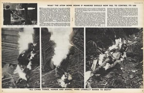 Part of a Picture Post magazine article from August 1945, entitled 'Man Enters The Atom Age'. The illustrations compare the effects of a conventional flamethrower (top, left) with those of an atomic bomb (lower photos). Original publication: Picture Post - 2071 - Man Enters The Atom Age - pub. 25th August 1945. (Photo by Picture Post/IPC Magazines/Hulton Archive/Getty Images)