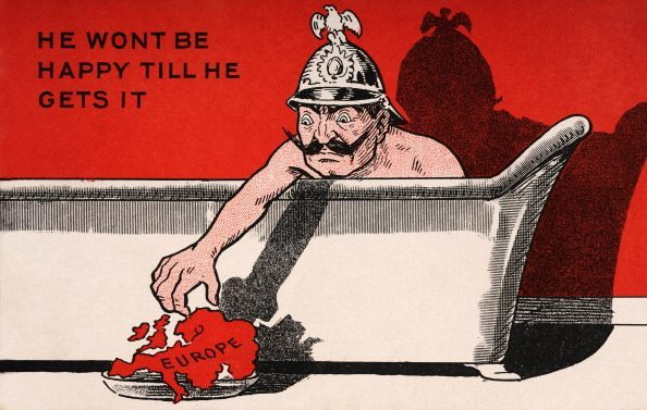 A vintage postcard produced during World War One, featuring the German leader Kaiser Wilhelm II in his bath, published circa 1914. (Photo by Popperfoto/Getty Images)