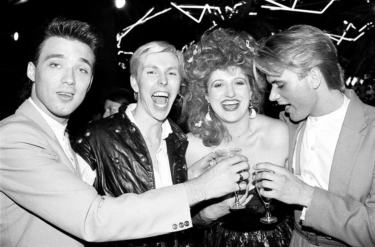 Camden Palace. Opening night. Martim Kemp, Biddie and Eve, Steve Norman (Spandau Ballet). 1981