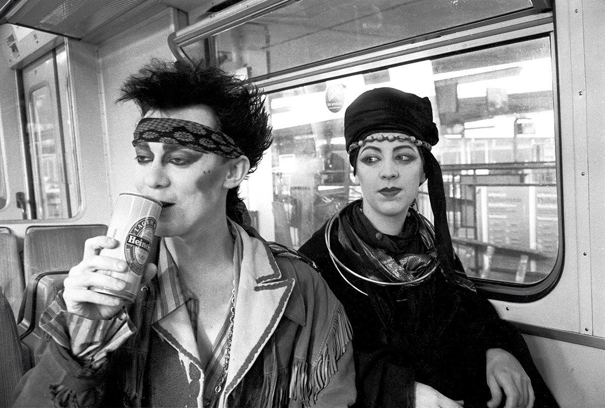 Stephen Linard and Michele Clapton on their way to see Spandau Ballet. 1980