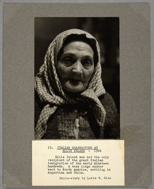 Italian grandmother at Ellis Island, 1926