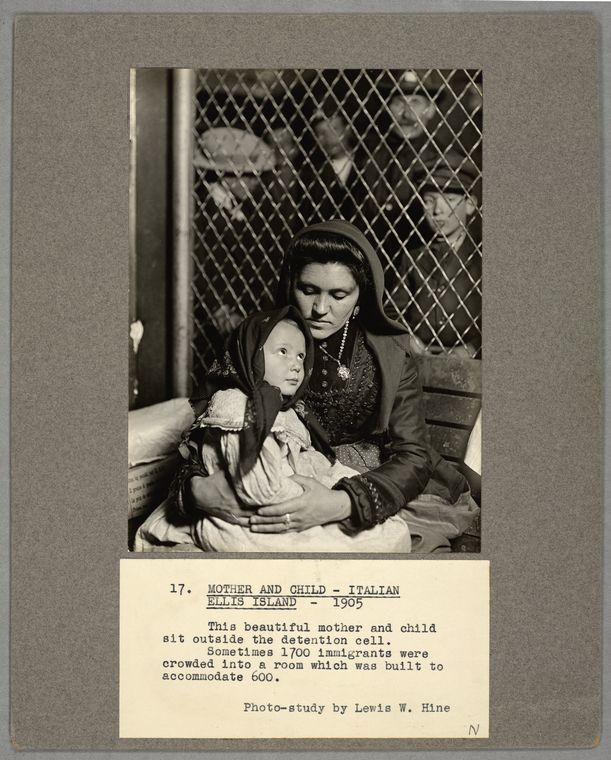 Mother and child, Italian Ellis Island, 1905