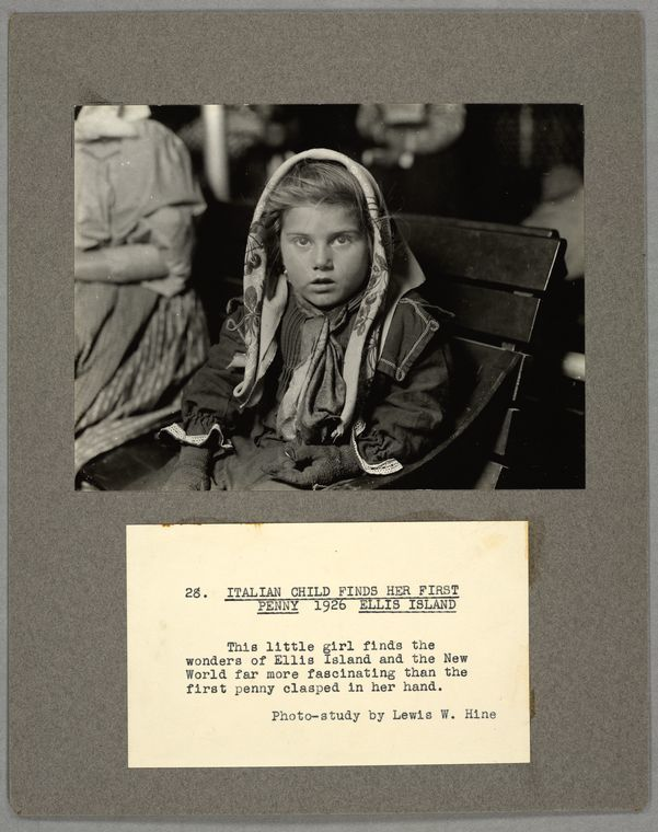 talian child finds her first penny, 1926, Ellis Island