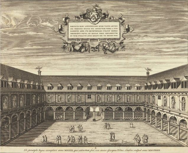 Interior Court of the Royal Exchange, 1660